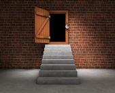 Stairs with opened door — Stock Photo