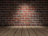 Brick wall wood floor — Stock Photo
