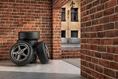 Tires on the garage — Stock Photo