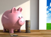 Piggy bank on table — Stock Photo