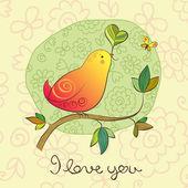 Birdie in Love — Stock Vector