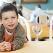 Child at restaurant — Stock Photo