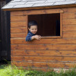 Stock Photo: Child in playhouse window
