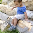 Child on wood log — Stock Photo