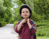 Child cyclist with helmet — Stock Photo