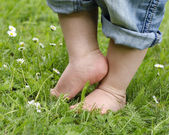 Child feet on grass — Stock Photo