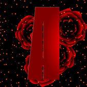 Alfabeto sobre un fondo de rosas rojas letra e — Stok Vektör