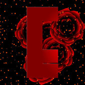 Alphabet on a background of red roses Letter E — Stock vektor