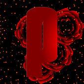 字母表的红玫瑰字母 p 背景上 — 图库矢量图片
