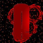Alphabet sur fond de roses rouges lettre r — Vecteur