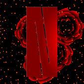字母表的红玫瑰字母 n 的背景上 — 图库矢量图片