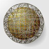 Bola con la textura de la tela y dentro de la cuadrícula — Vector de stock