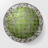 Bal met de textuur van weefsel en binnen het raster — Stockvector