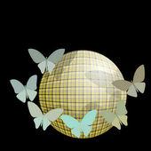 Grupo de borboletas perto a bola em um fundo preto — Vetor de Stock
