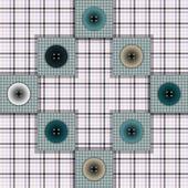 Set di tessuto con pulsanti su uno sfondo contrastante — Vettoriale Stock