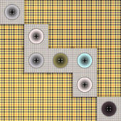 Set of fabric with buttons on a contrasting background — Stock Vector