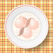 Image dishes on a napkin with a seamless texture — ストックベクタ