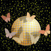 Group of butterflies near the ball on a brilliant background — Stock Vector