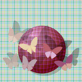Grupo de mariposas cerca de la pelota en la textura de la tela de fondo — Vector de stock