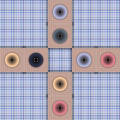 Set of fabric with buttons on a contrasting background — Stok Vektör
