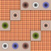 Ensemble de tissu avec des boutons sur un fond de couleur contrastante — Vecteur