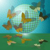 Conjunto de mariposas o grupo de insectos cerca de la bola — Vector de stock