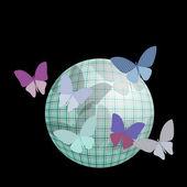 Gruppo di farfalle vicino la palla su sfondo nero — Vettoriale Stock