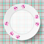 Afbeelding gerechten op een servet met een naadloze textuur — Stockvector