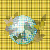 Group of butterflies near the ball on the background fabric texture — Vector de stock