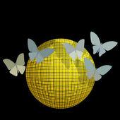 Grup siyah bir arka plan üzerinde topu yakın kelebek — Stok Vektör