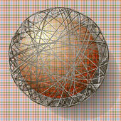 Ball with the texture of fabric and within the grid — Vector de stock