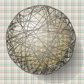 Ball with the texture of fabric and within the grid — 图库矢量图片