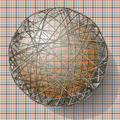 Ball with the texture of fabric and within the grid — Stockvector