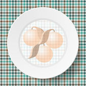 Image dishes on a napkin with a seamless texture — Stock vektor