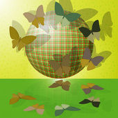 Set of butterflies or group of insects near the ball — Stock Vector