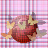 Arka plan dokusu üzerinde topu yakın kelebeklerin grubu — Stok Vektör