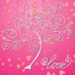 tree on background with hearts — Stock Vector