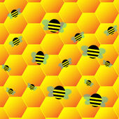 Bee on cell — Stockvektor