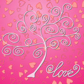 Tree on background with hearts — Vettoriale Stock