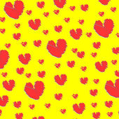 Red hearts on yellow background — Stock Vector