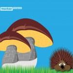 Hedgehog and mushroom — Stock Vector #24391753