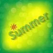 "Stock Vector: Word ""Summer"" on green background"