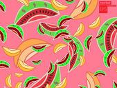 Sandía y melón, papel pintado, vector — Vector de stock