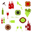Stock Vector: Wine set