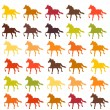 Stock Vector: Set of colorful horses