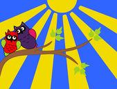 Owls on tree — Stock Vector