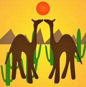 Camel silhouettes in desert — Stock Vector