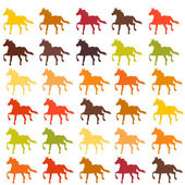 Set of colorful horses — Vector de stock