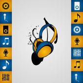 Music headphones — Stock Vector