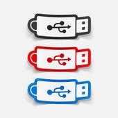 Sticker of flash drive — Stock Vector